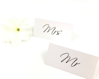 Personalised elegant Black & White Script place settings, place cards, place names, table plan, seating chart
