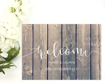 Personalised Rustic Wooden Wedding Welcome Sign / Reception Sign / Greeting Sign / UK