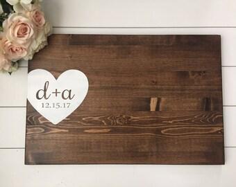 Rustic Wedding Guest Book Alternative / Initials & Heart Guest Book / Painted Wood Guest Book Rustic Wedding Decor Wood Country Wedding Gift