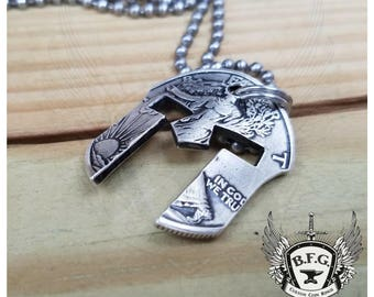 Silver Spartan Helmet Coin Pendant Necklace From a Walking Liberty Silver Half Dollar W/ 30 inch Stainless steel Ball Chain