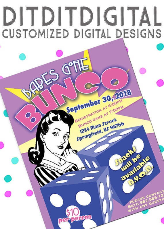 BUNCO Game Night Fundraiser Retro 5x7 Invite 85x11 Flyer
