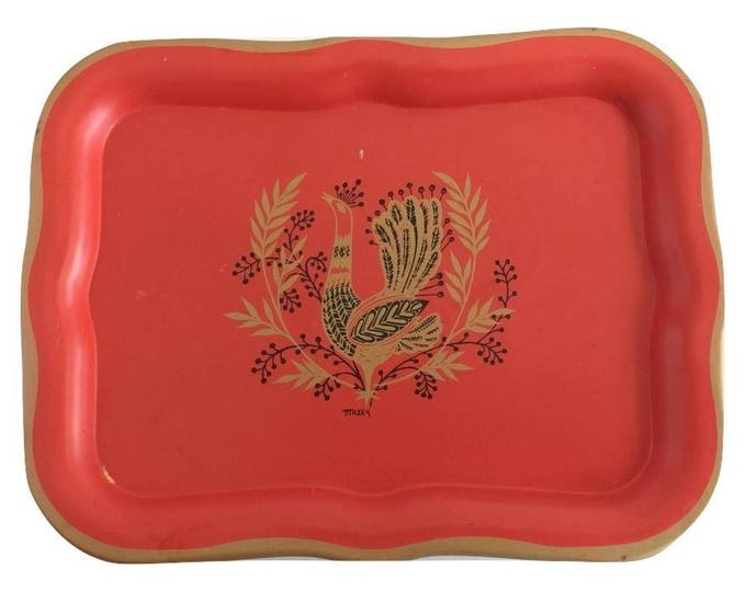 Dutch Folk Art Tole Tray with Bird of Paradise by Maxey