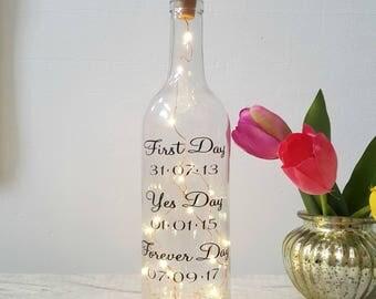 Wedding day gift, wine light bottle, message on a bottle, gay wedding, fairy lights bottle, wine lover, wedding decor, wedding table decor
