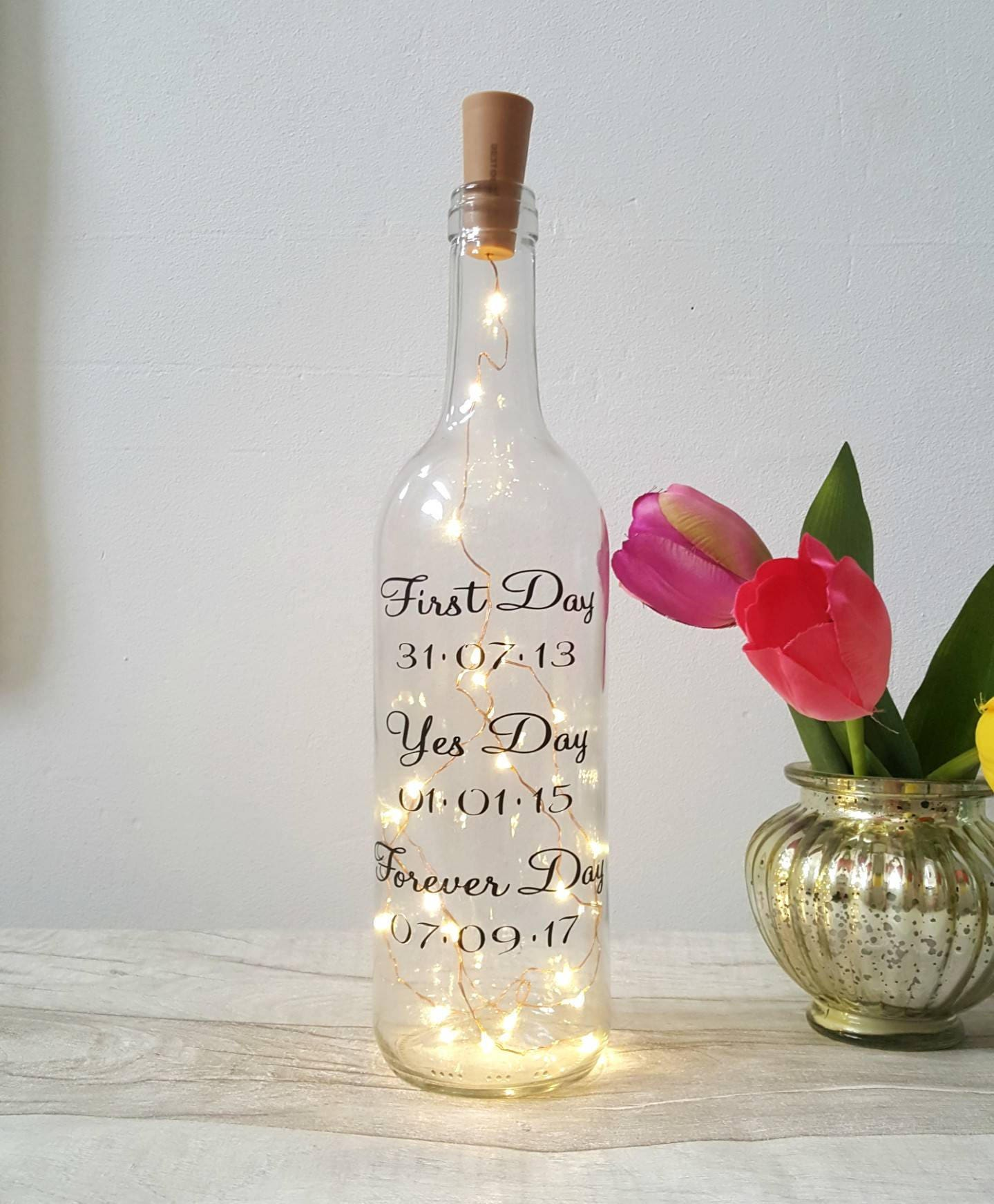 Wedding Wine Bottle Gifts: Wedding Day Gift Wine Light Bottle Message On A Bottle Gay