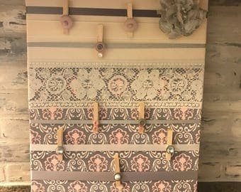 Handmade / Cottage Chic / message board / clothes pin board / photo board