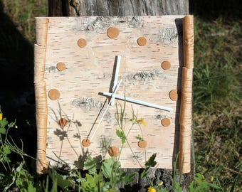Made with real birch bark Wall Clock Birch  Clock Handcrafted From Real  Bark Natural Home Decor burned design spring decor Birthday Gift