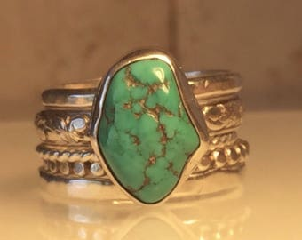 Handmade Turquoise Ring/Handcrafted Turquoise and Sterling Silver Ring Set/Free Shipping in the US.