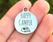 Camping Stainless Steel Charm - Happy Camper - Laser Engraved - Silver Circle - 19mm x 22mm - Quantity Options - F4L574