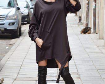 New Asymmetrical Short Maxi Dress, Loose Oversize Tunic Top, Fashion Plus Size Tunic, Short Long Sleeves by SSDfashion