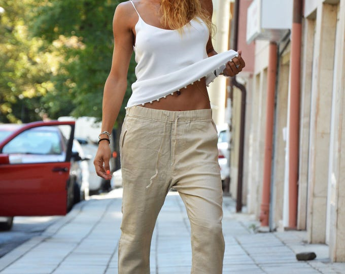 Casua Linen Beige  Pants, Wide Leg Pants with pocket, Extravagant Harem Pants, Maxi Trousers by SSDfashion