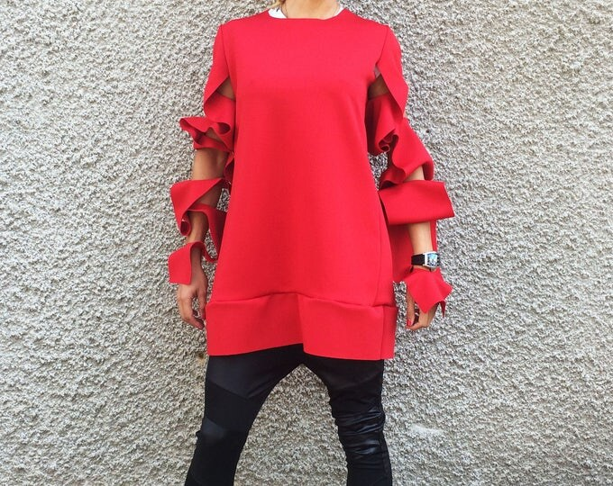 Extravagant Plus Size Neoprene Tunic, Oversize Red Blouse, Asymmetric Maxi Casual Tunic by SSDfashion