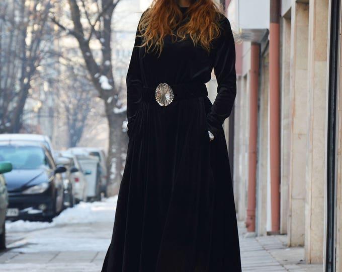 Maxi Velvet Dress with belt, Plus Size Black Long Dress, Woman Drape Stage Kaftan, Extravagant Asymmetric Dress by SSDfashion