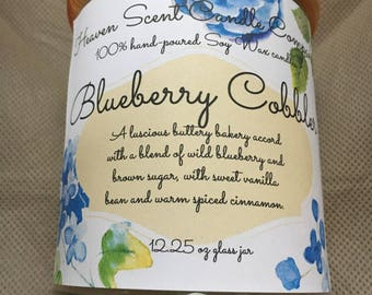 Blueberry Cobbler hand-poured soy candle in 12.25oz glass jar