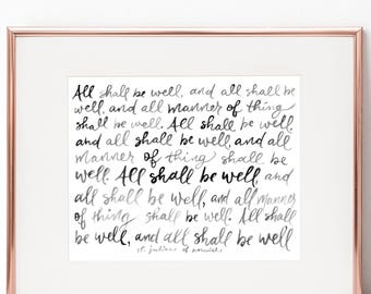 All Shall Be Well St. Julian of Norwich 8x10 Print
