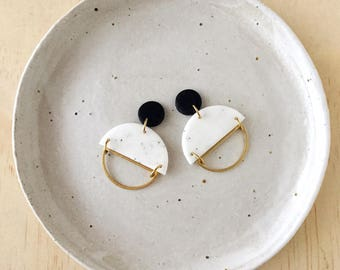 Silhouette Earrings - Jet Black & White Granite with a Brass Semi Circle Silhouette.