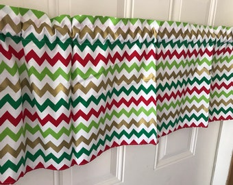 Gold Red Green Chevron Christmas Holiday Curtain Valance