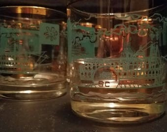 Set of 5 Vintage Libbey Southern Comfort Old Fashioned Glass Steamboat Riverboat Teal Gold Rim Retro Bar Ware Mid Century Hollywood Regency