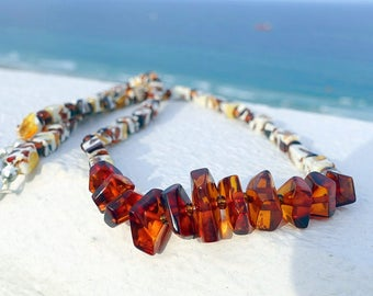Baltic Amber Beaded Necklace, Amber Mosaic Necklace, Amber Mosaic Jewelry, Unique Gift For Her