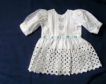 Pretty lawn and lace Victorian/Edwardian drop waist style doll's dress using genuine vintage fabrics.