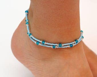 wife gift for her Anklet bracelet Blue Anklet Foot bracelet Double Anklet beaded anklet Beachy anklet Gypsy anklet womens gift sister gift