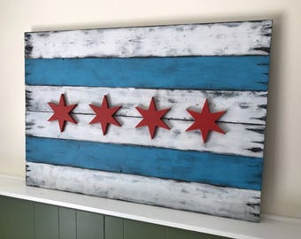 Rustic Wood Chicago Flag