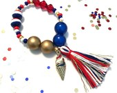 Red, White and Ice cream USA Charm Bracelet - Memorial Day accessory, flag charm, 4th of july jewelry, patriotic charm bracelet, usa charm,