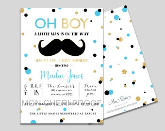 Little Man Baby Shower | Mustache Baby Shower | Baby Shower Invitation | Mustache Invitation | Little Man Mustache | Boy Baby Shower