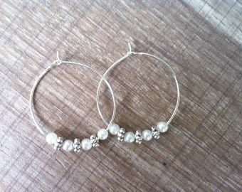 "Earring Creole ""Angel"" Pearly silver beads and pearls silver snowflakes"