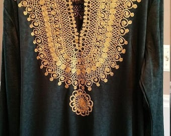 ON SALE Caftan. Cosplay Costume Piece. Heavy brocade in Gold on Dark Green Polyester.