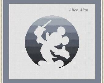 Cross Stitch Pattern Silhouette Mickey Mouse gray circle superhero Disney Counted Cross Stitch Pattern/Instant Download Epattern PDF File