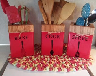 Beautiful red wooden utensil holders