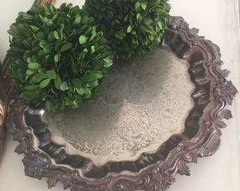 Vintage Silver Plated Round Heavy Ornate Serving Tray