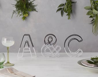 Monochrome letters, Colour Dip Letters, wire letters, black and white home, couples initials, monochrome home, gift for wedding