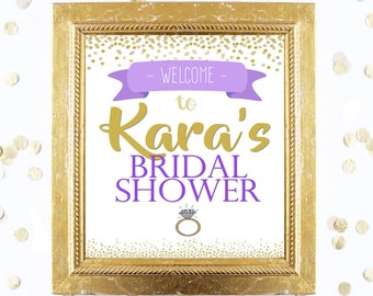 Bridal or Baby Shower Welcome Sign Customized - Purple and Gold Confetti - Instant Printable Digital Download - diy Printables and Games