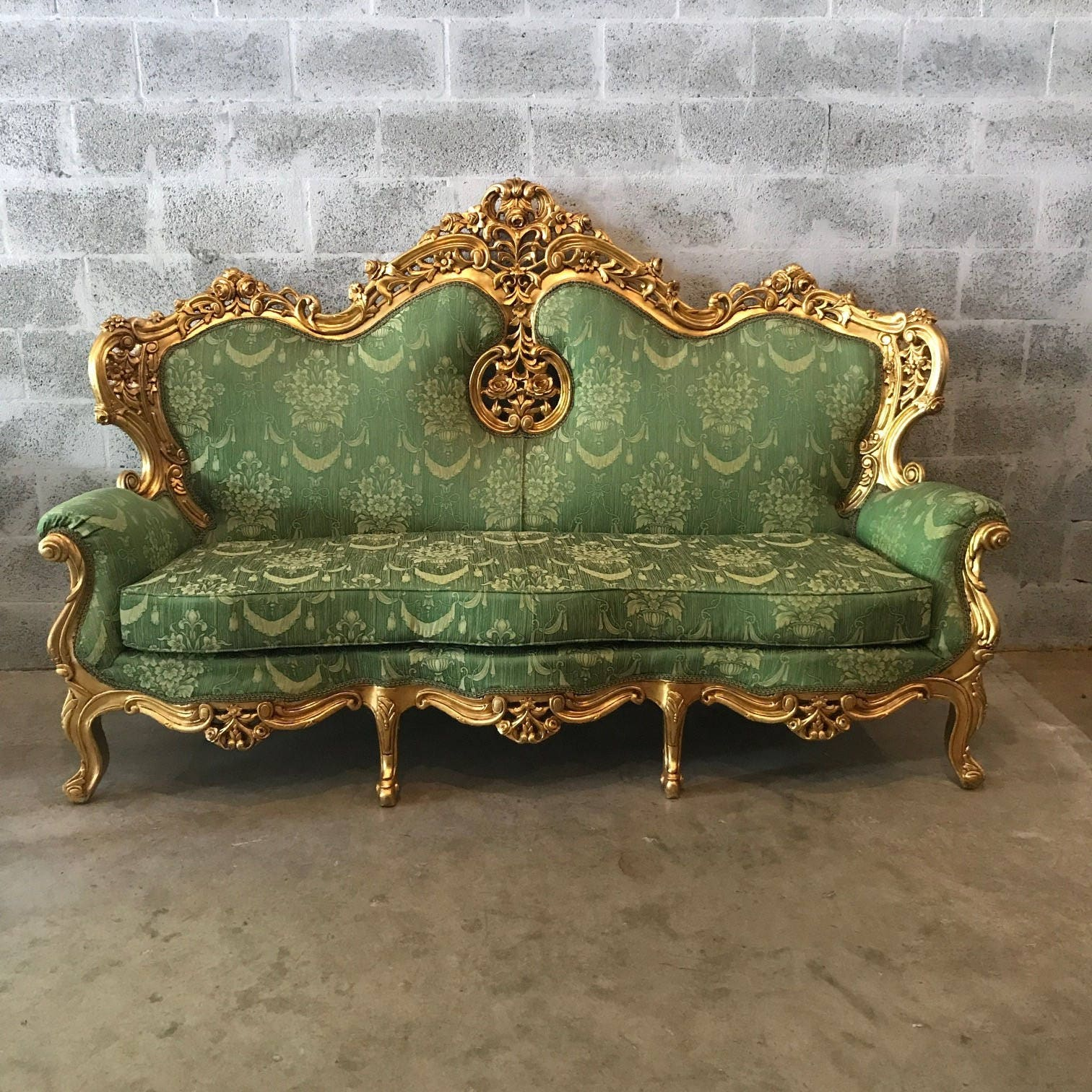 Hold Rococo Throne Chair Antique Furniture Green Settee French