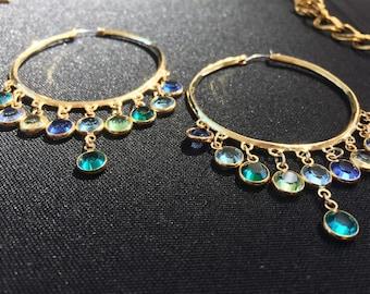 Gold Hoop Earrings, Charm earrings, Dangle Crystal Hoops, Swarovski Hoops, Handmade Hoops, Dangle Earrings, Drop Dangle Earrings, Multicolor