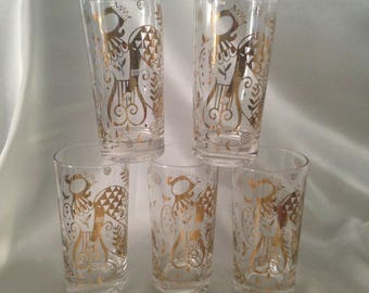 Georges Briard Heaven Can Wait Mid-century Angel Tumblers,Vintage Barware Highball Set of 5,Signed Georges Briard Glassware