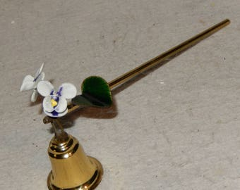 Vintage Bovano Enamel Copper Candlestick Candle SNUFFER Iris Violet Flowers ~  FREE Shipping!