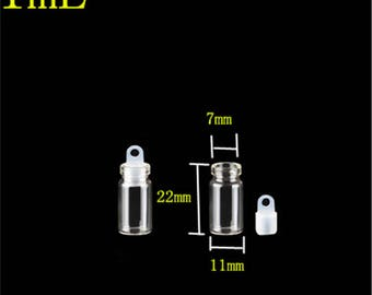 11*22*7mm 1ml Mini Transparent Clear Glass Bottles With Sealing Rubber Cover Empty Glass Vials Jars Wishes Bottles 100pcs/lot