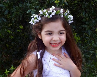 Flower Girl Wreath, Flower Crown, Baby's Breath Crown, Flower Girl Headpiece, Halo Crown, Bridesmaid Flower Crown, Floral Crown