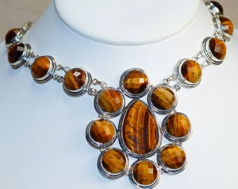Classy Faceted Tiger Eye set in 925 Sterling Silver Necklace
