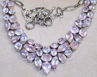 One of a kind Genuine Rose Quartz   set in Solid 925 Sterling Silver Necklace