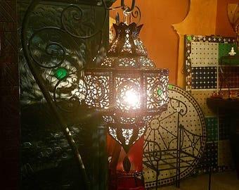 handmade moroccan lantern copper finnish multicolor glass moroccan pierced metal lantern bal
