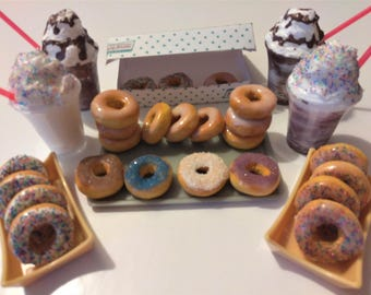 "AG Doll Food, Fits with, American girl Doll, Donuts, Krispy Kreme Donuts & Drink for 18"" Dolls, BJD, Donuts for Dolls"
