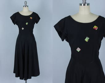"Vintage 1940s Dress | ""Jewelteens"" Black Rayon Dress with Plaid Taffeta Ribbon Detail 