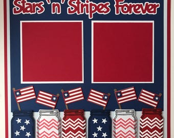 """Premade 12""""x12"""" Patriotic Scrapbook Layout, 4th of July, Independents Day, Red White Blue, Freedom, Stars Stripes, America, USA"""
