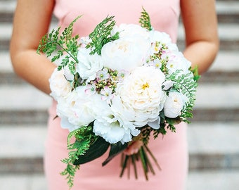 Peony wedding bouquet, Bridal bouquet, Peony rose bridal bouquet, Peony bridal bouquet, Alternative wedding bouquet, Blush roses bouquet