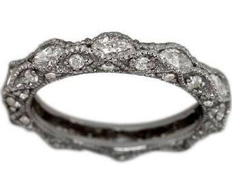 Antique Marquise Diamond Milgrain Eternity Band With Round And Diamonds