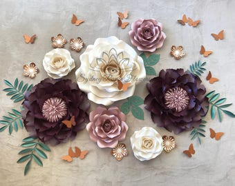 PLUM PEONY Paper flower backdrop/Paper flower wall/Wedding Backdrop/Holy communion/Bridal Baby shower/Sweet table/Christening /Dessert table