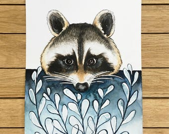 Racoon, Original Watercolor Illustration, A5 size